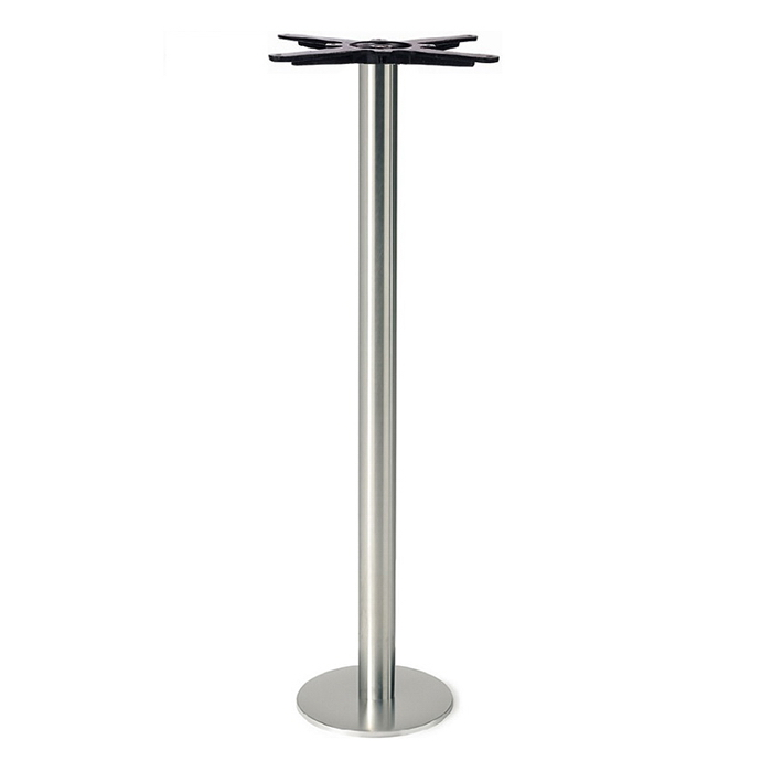 Round Stainless Base Coffee Height Tables: Bar Height Round Stainless Steel Table Base With Cast Iron