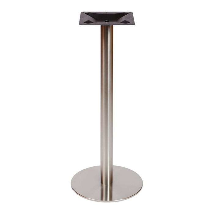 Bar Height Round Stainless Steel Table Base Satin Finish